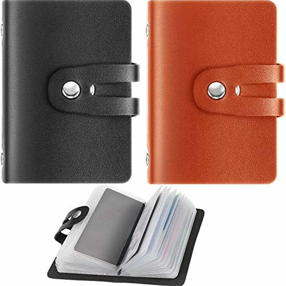 2 Pieces RFID Credit Card Holder PU Leather Business Organizer With 26 Slots, To
