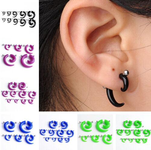Pair Acrylic Spiral Gauge Punk Fake Cheater Stretcher Ear Plug Earring Piercing