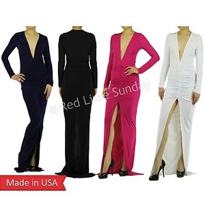 New-Deep-V-Neck-Center-High-Split-Slit-Ruched-Full-Length-Long-Maxi-Dress-USA