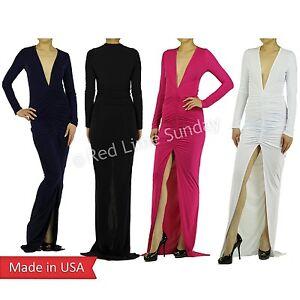 New-Deep-V-Neck-Center-High-Split-Slit-Ruched-Full-Length-Long-Maxi-Dress-USA