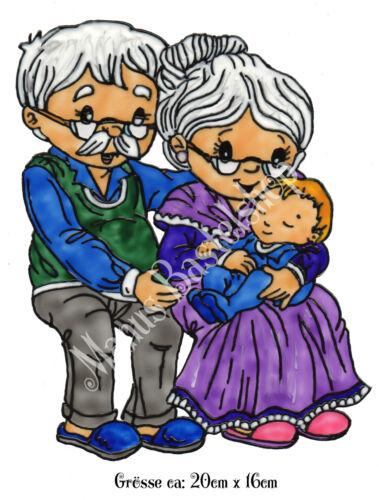 Fensterfolie 238 Fensterbild Window Color Bild Rentnerpaar mit Enkel