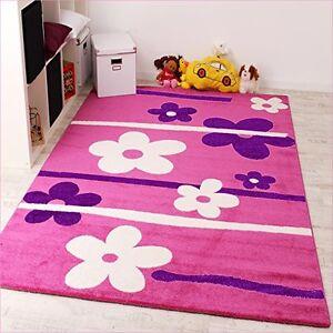Pink Girls Rug Flower Kids Bedroom Carpet Children Play