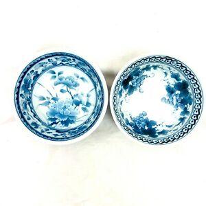 Japanese Takamine Vintage Porcelain Blue White Marked Pair of Rice Bowls