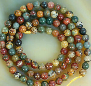 6mm-Natural-Colorful-Picasso-Jasper-Gemstone-Round-Loose-Beads-15-034