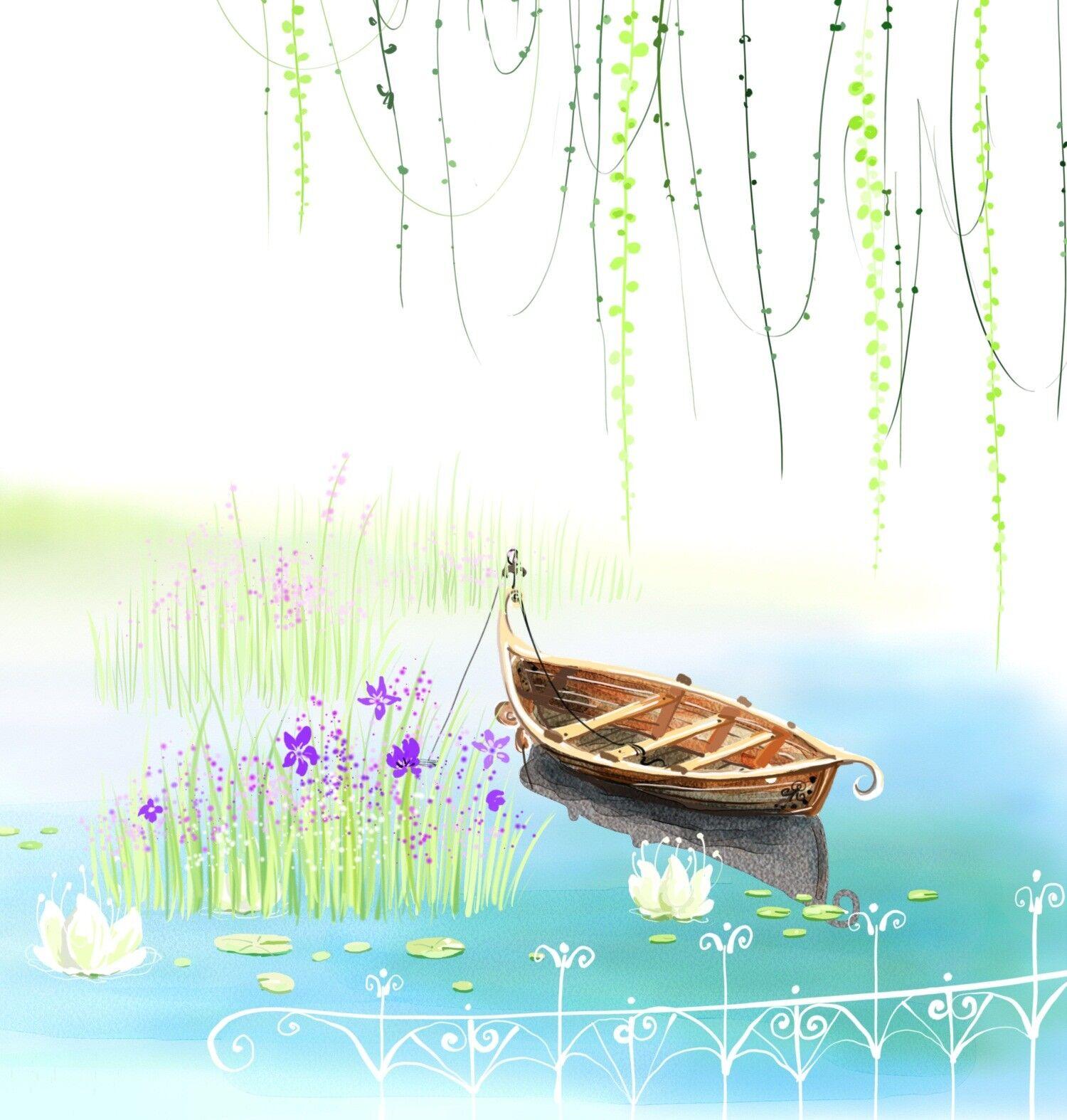 3D Märchen Fluss SegelStiefel 9073 Tapete Wandgemälde Tapeten Bild Familie Familie Familie DE Jenny | Vielfalt  | Verschiedene Stile  | Um Zuerst Unter ähnlichen Produkten Rang  4873d7