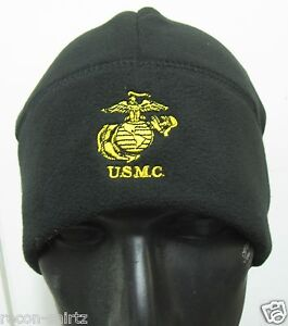 6a96b4932e8 Image is loading USMC-BLACK-EMBROIDERED-POLAR-FLEECE-WATCH-CAP-BEANIE-