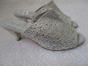 JOAN BOYCE ENCRUSTE argento RHINESTONE OPEN TOE scarpe  SIZE 11W NEW  scarpe  83f129