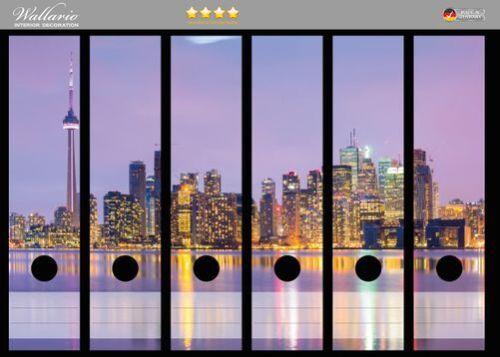 Wallario Ordnerrücken selbstklebend 6 breite Ordner Toronto Skyline Kanada