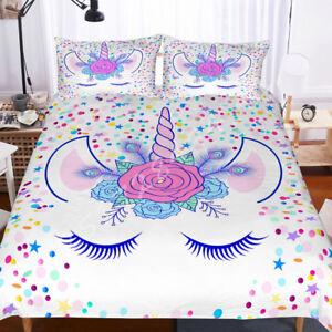 3D-Kids-Flowers-Unicorn-Eye-Bedding-Set-Duvet-Cover-Comforter-Cover-Pillow-Case