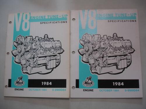 1984 Mack  8 Cylinder 998 CID Engine TUNE-UP SPECIFICATIONS Service Shop Manual