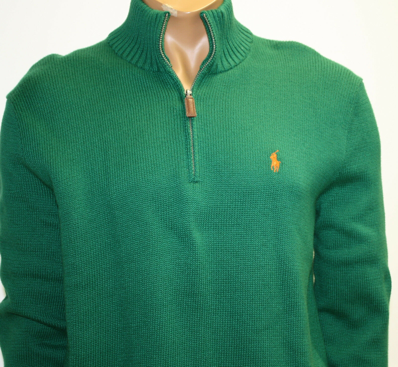 Polo Ralph Lauren Sweater Grün Cotton Zip Knit Sweater Orange Pony Logo NWTS