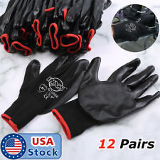 612 Pairs Pu Coated Work Gloves Builder Mechanic Construction Grips Black Us