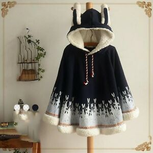 fc24ea09d729 Hot Cute Fashion Womens Girls Cute Cape Poncho Hooded Cloak Outwear ...