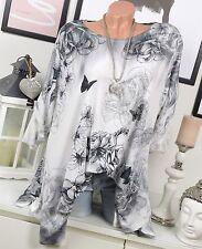 OVERSIZE Shirt VINTAGE Tunika NIETEN Blumen Schmetterlinge Weiß Grau 44 46 48