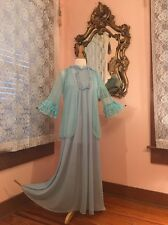 Vintage Blue Long Peignoir Nightgown Set Size Small Medium Ruffle