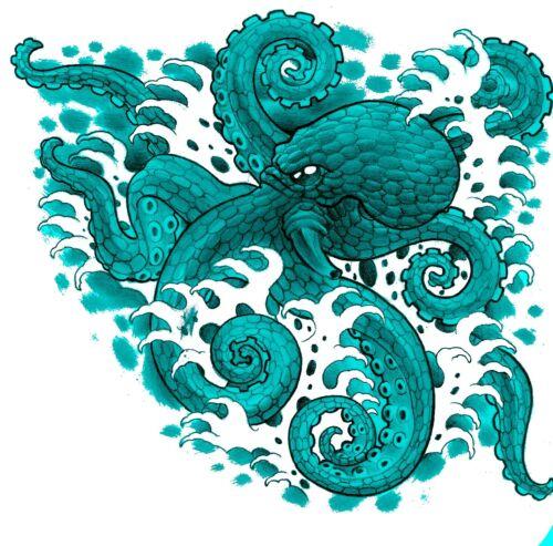 Sacs Et Coussins Blue Octopus T Shirt Transfert bavoirs