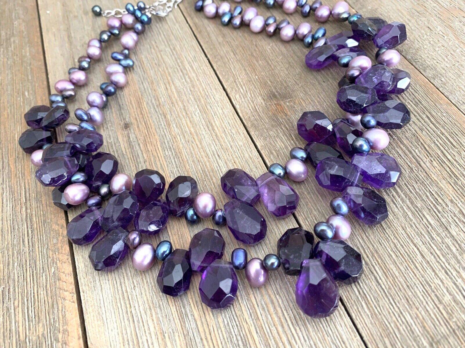 Necklace Amethyst Pearls Cluster Diana Venezia Ra… - image 1