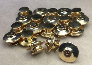 20 Military Biker Disney Brass Spring Flat Back Clutch Pin Backs USA Keeper