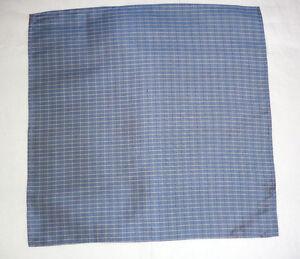 Silk mens top pocket handkerchief  Mid blue with darker blue//white checks   NEW