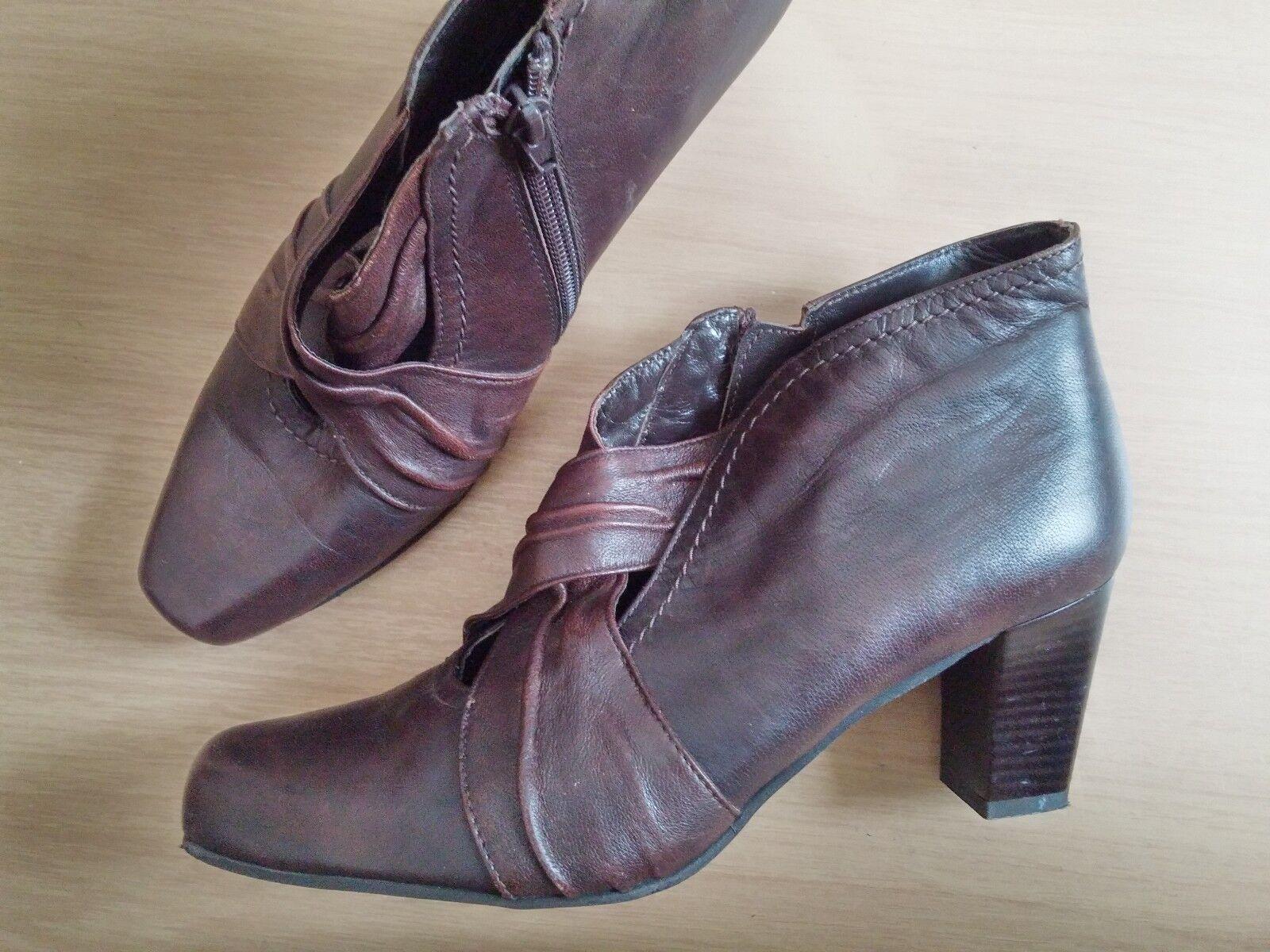 Damen Schuhe Ankle Stiefel MITIKA Gr 41 braun Leder Top