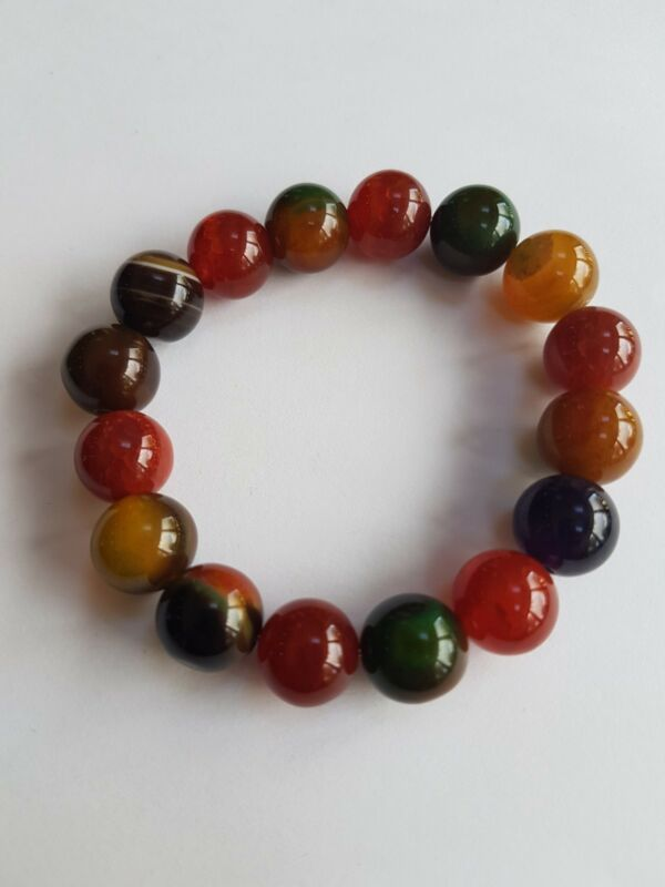 Multi-coloured Agate Stretch Gemstone Bracelet In Autumnal Tones