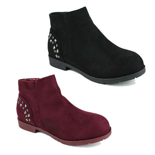 WOMENS CASUAL BLOCK HEEL STUDDED ANKLE CHELSEA BOOTS BOOTIES SHOES NEW SIZE 3-8