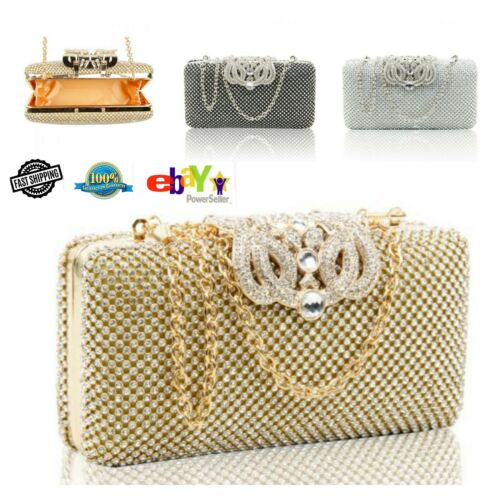 New Women/'s Elegant Hard Case Clutch Bag Evening Bag With Stylish Diamante Clasp
