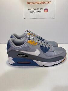 Details about Men's Nike Air Max 90 Essential Running Grey White Indigo AJ1285 016 Size 8 NEW