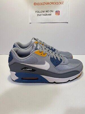 Men's Nike Air Max 90 Essential Running Grey White Indigo AJ1285 016 Size 9 | eBay