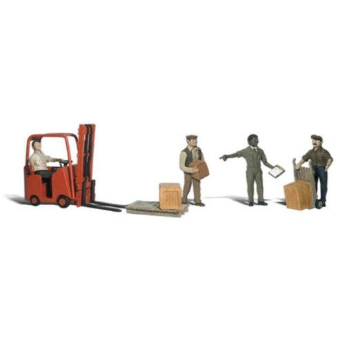 Dipinta Lavoratori con Muletto Woodland Scenics A1911 Oo // Ho Statuette
