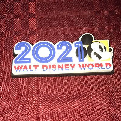Walt Disney World 2021 Logo Mickey Fridge Magnet 2 Pc Set Acrylic PVC NEW