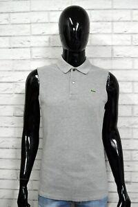 LACOSTE-4-Polo-Maglia-Camicia-Uomo-Senza-Manica-Grigio-Herrenhemd-Chemise-Shirt