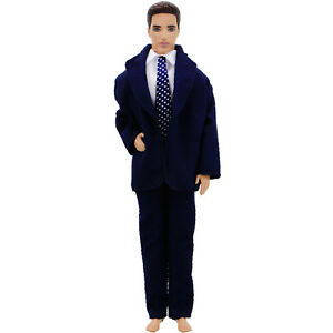 3In1-Tuxedo-Outfit-Formal-Suit-Jacket-Tie-Blue-Coat-Clothes-For-12-in-Ken-Doll