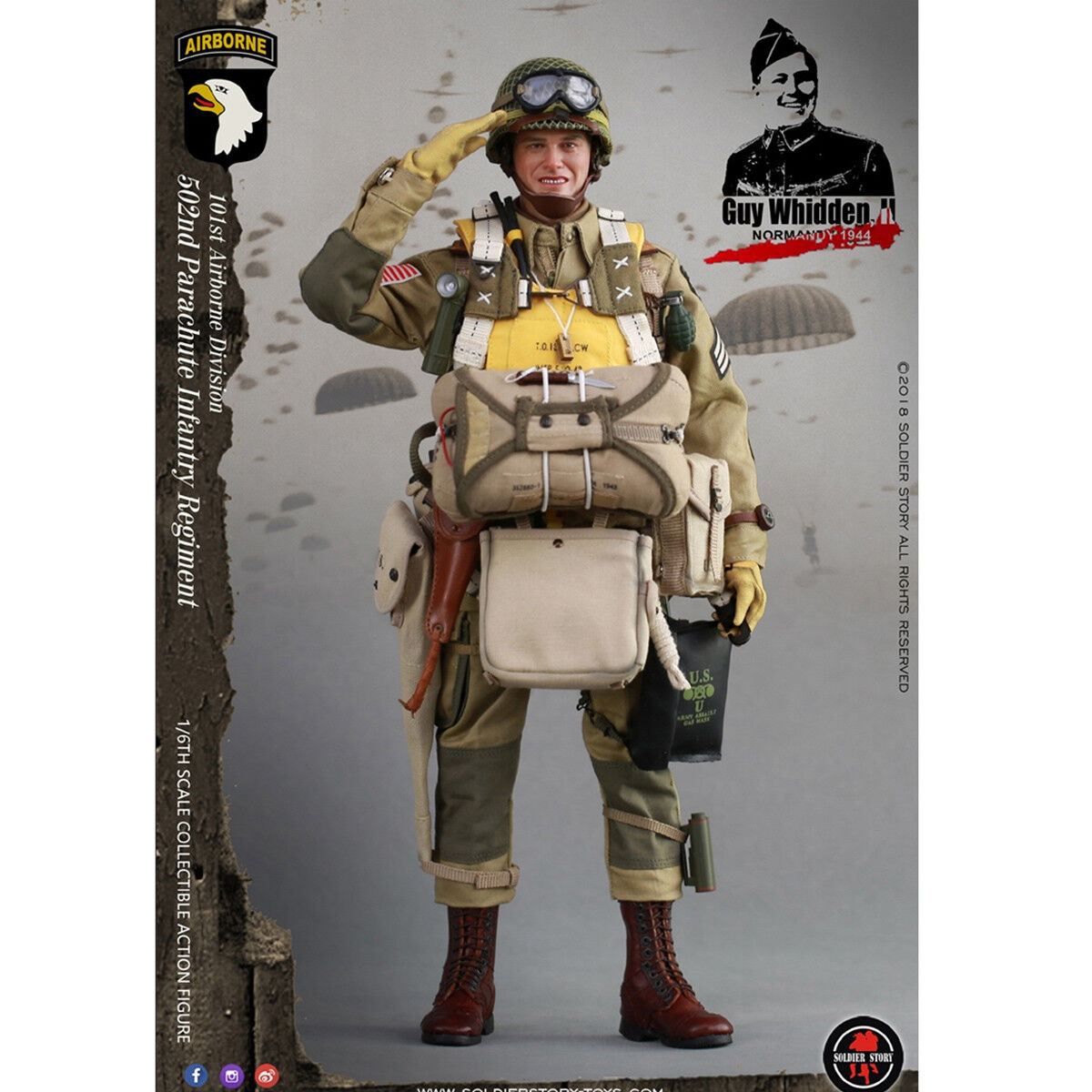 SoldierStory SS110 1 6 WWII 101st Airborne Division Guy Whidden Figure Model New