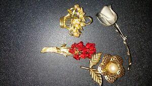 Floral-Brooch-Lot