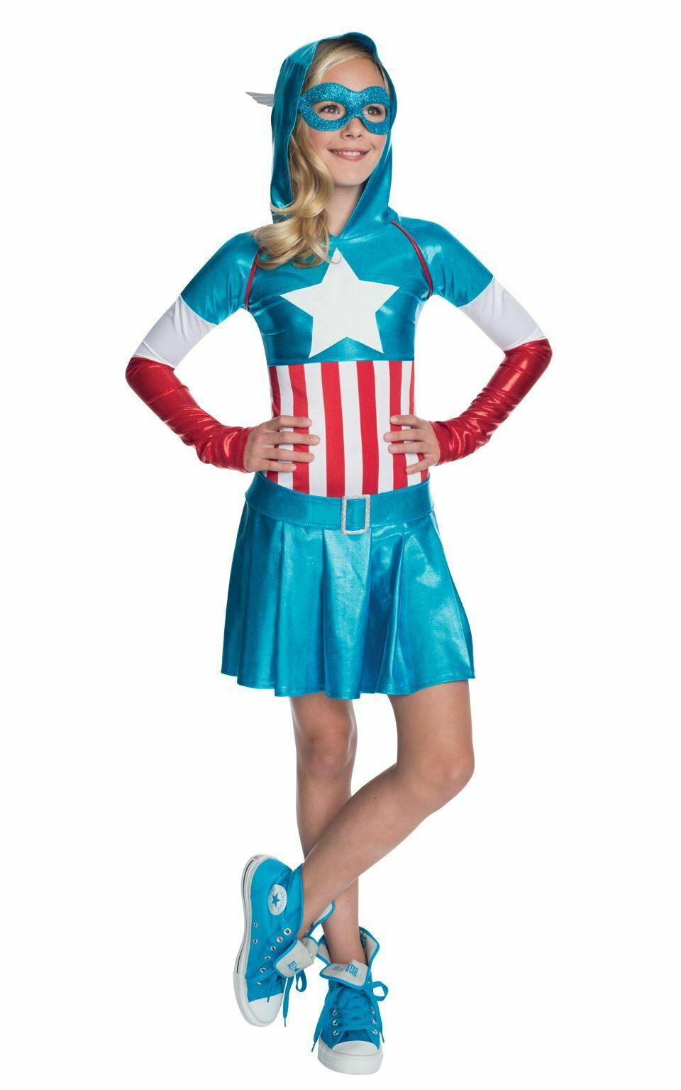 Ragazze Bambini Costume da Capitan America Marvel DC Comics Supereroe Costume Outfit