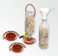 Gadjit Soda Bottle 3 Hanging Bird Feeders + 1 Twist-on Bird Seed Funnel 19513