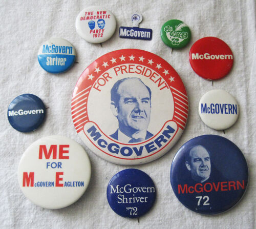 11 Presidential Campaign Buttons Pins George McGovern Eagleton 1972 Shriver