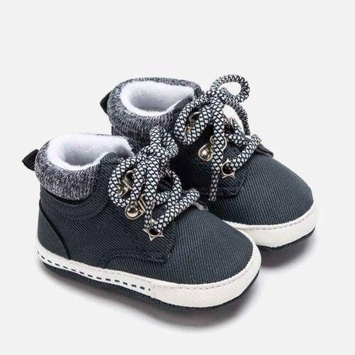 scarpe scarpette stivaletto anfibio culla blu lacci neonato bambino mayoral