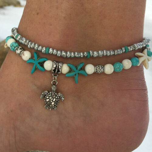Coastal Turquoise Bead Ankle Bracelet Beach Boho Ankle Jewelry Silver Chain Sea Turtle Ankle Bracelet Silver Beaded Chain Anklet