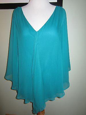 Matty M Green  Silk Chiffon  Sheer Top Blouse Shirt Size S