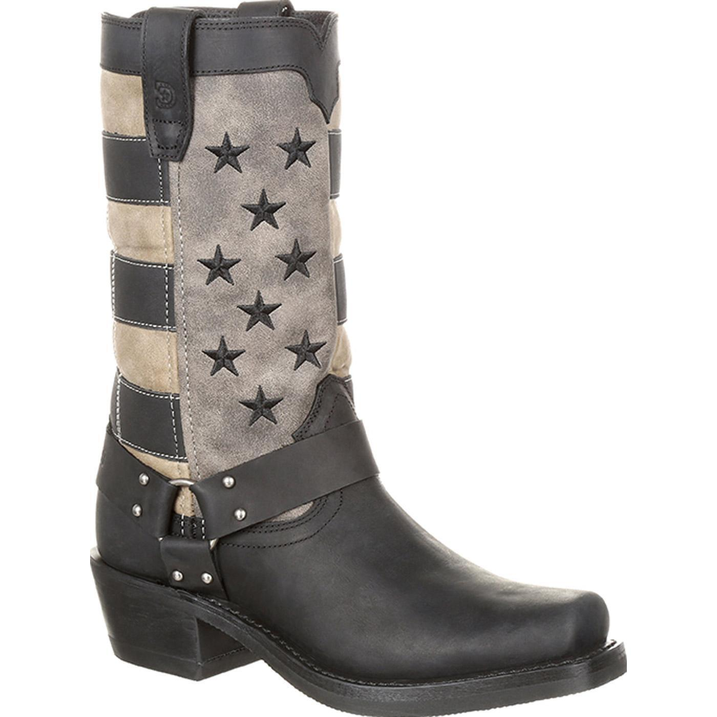 Durango DRD0219 Womens Black Faded Flag Leather Harness Boots