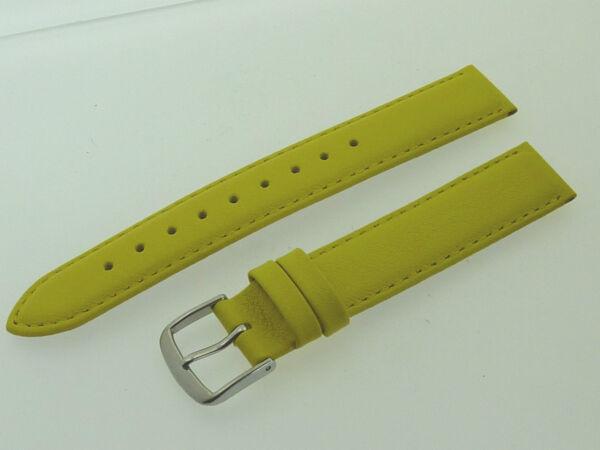 # L467 # Uhrenarmband Leder Juwelier QualitÄt 16 Mm Zitronen-gelb Mit Naht