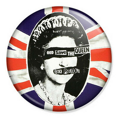 """Sex Pistols 25mm 1"""" Pin Badge Rotten Punk Rock Lydon God Save The Queen"""