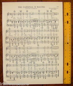 """STANFORD UNIVERSITY Vintage Song Sheet c1927 /""""Hail/"""" /""""Cardinal Waving/"""" Original"""