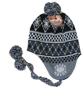 INCA STYLE FAIRISLE BEANIE HAT BLUE /& BLACK DIAMOND PERUVIAN MENS PERU