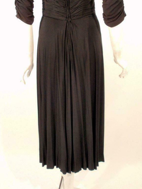 CEIL CHAPMAN Black Ruched Cocktail Dress with 3/4… - image 5