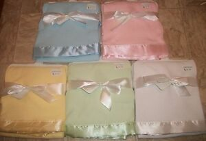 56f4fc1c4f Details about NEW BLUE PINK GREEN WHITE YELLOW WAFFLE WEAVE THERMAL BABY  BLANKET W  SATIN TRIM