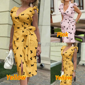 UK-Womens-Wrap-Summer-Butterfly-Midi-Ruffle-Dress-Ladies-Holiday-Beach-Size-8-26