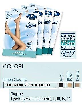 Sauber Collant 70 Denari Maglia Liscia N Beig 5 Linea Classica